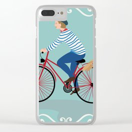 Vintage Style Frenchman on a Bicycle with Baguette Art Print Clear iPhone Case