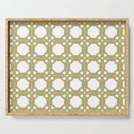 Gold & White Knotted Design Serving Tray
