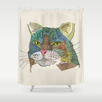 whisky Shower Curtains featuring Whisky Cat by Faye Finney