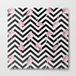 Flamingo pattern on black striped chevron background Metal Print