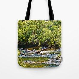 Beautiful river running over rocks Tote Bag