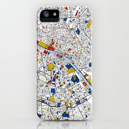 Paris Mondrian Map Art iPhone Case