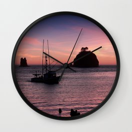 Sunset at First Beach - La Push Wall Clock