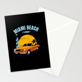 Miami Beach Muscle Car Florida Stationery Cards