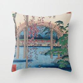 Summer Shrine Vintage Ukiyo-e Woodblock Print Throw Pillow