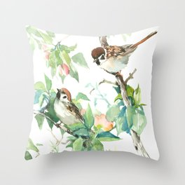 Sparrows And Apple Blossom, bird art Sage, teal green Vintage style floral bird art Throw Pillow