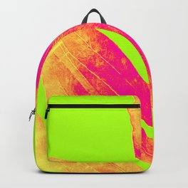 Green and Ultra Bright Coral Fern Backpack