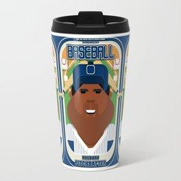 Baseball Blue Pinstripes - Rhubarb Pitchbatter - Hayes version Travel Mug
