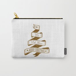 Merry Christmas- Glitter Gold Xmas Typography Carry-All Pouch
