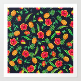 Tropical fruit and flowers Art Print