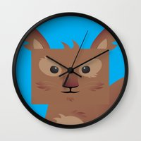 furry Wall Clocks featuring Furry Squirrel by Yay Paul