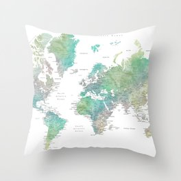 Watercolor world map in muted green and brown Throw Pillow