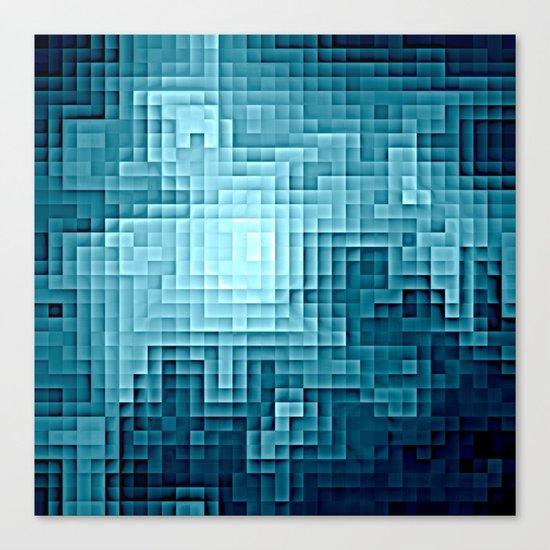 Nebula Pixels Steel Teal Blue Canvas Print