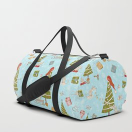 From Mice And Christmas - Cute teal X-Mas Pattern Duffle Bag