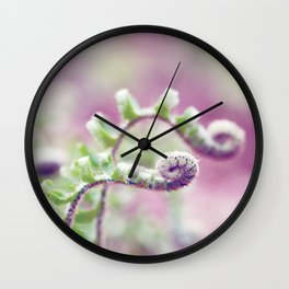 Ferns in Green, Purple, and Pink Wall Clock