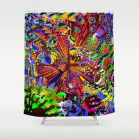 seashell Shower Curtains featuring offshore seashell by donphil