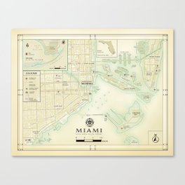 Miami [Vintage Inspired] Road Map Canvas Print