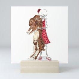 Skeleton kid with big bunny Mini Art Print