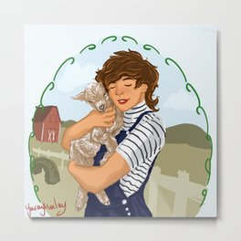 Louis holding a baby goat Metal Print