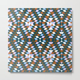 Native Diamond Triangle Pattern Metal Print