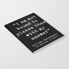Shakespeare quote philosophy typography black white Notebook