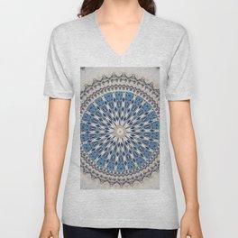 Bright Blue Marble Mandala Design Unisex V-Neck