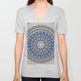 Bright Blue Marble Mandala Design Unisex V-Neck