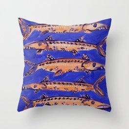 Barracuda on Blue Throw Pillow
