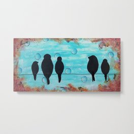 Mixed Media - BIRDS ON A WIRE Metal Print