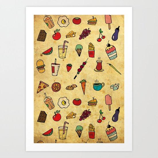 Food Love Pattern Art Print