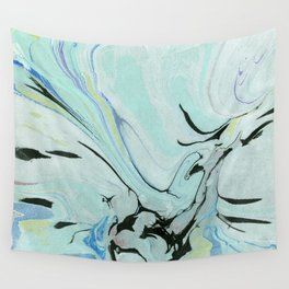 Soft Blue & Black Marbling Wall Tapestry