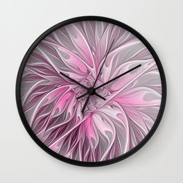 Abstract Pink Floral Dream Wall Clock