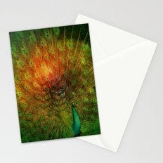 Peacock in Green Stationery Cards