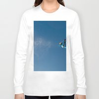 skiing Long Sleeve T-shirts featuring Skiing off a jump by Dustin Hall