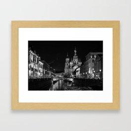 Black and White Saint Petersburg Framed Art Print