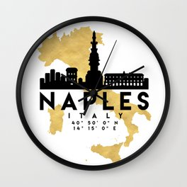NAPLES ITALY SILHOUETTE SKYLINE MAP ART Wall Clock