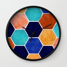 Painted Terra Cotta Wall Clock