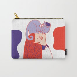 Girl with purple cat Carry-All Pouch