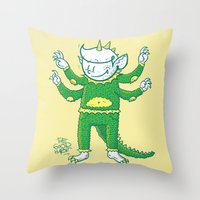 kaiju Throw Pillows featuring thegoodhabit kaiju by TheGoodHabit