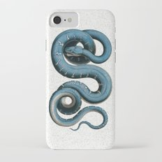 Blue White Vintage Snake Illustration Animal Art iPhone 7 Slim Case