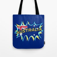 australia Tote Bags featuring Australia by mailboxdisco