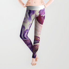 Purple Leaves with Gold Flakes Leggings