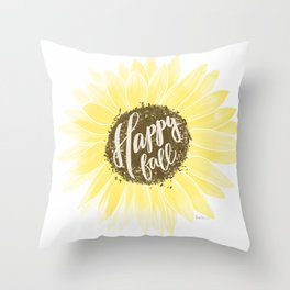 Happy Fall Sunflower on White background Throw Pillow