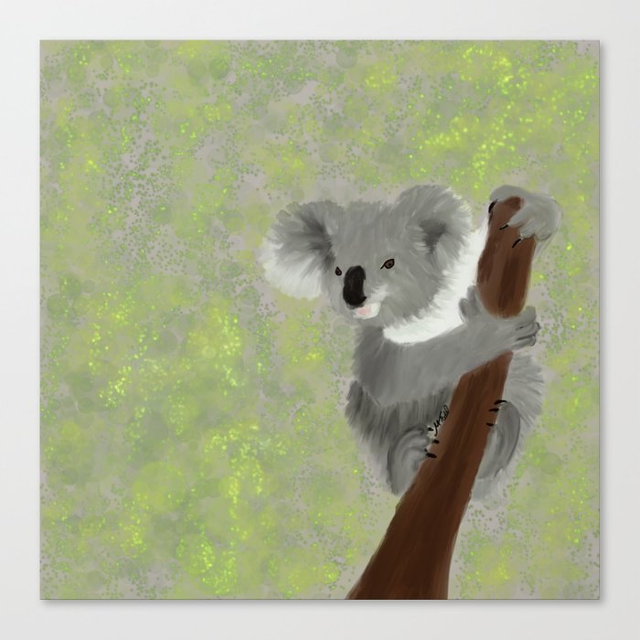 Koala Bear Hanging In There Canvas Print