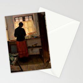Anna Ancher - Girl In The Kitchen - Digital Remastered Edition Stationery Cards