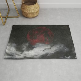 retreat - surreal and dark seascape with red moon Rug