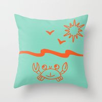 crab Throw Pillows featuring crab by gzm_guvenc