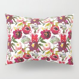 Red pink lilac watercolor hand painted roses floral motif Pillow Sham