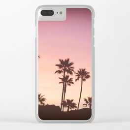 Pink Black Manhattan Beach Sunset Clear iPhone Case