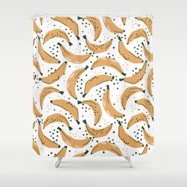 Mid Century Modern Abstract Bananas Jungle Pattern Shower Curtain